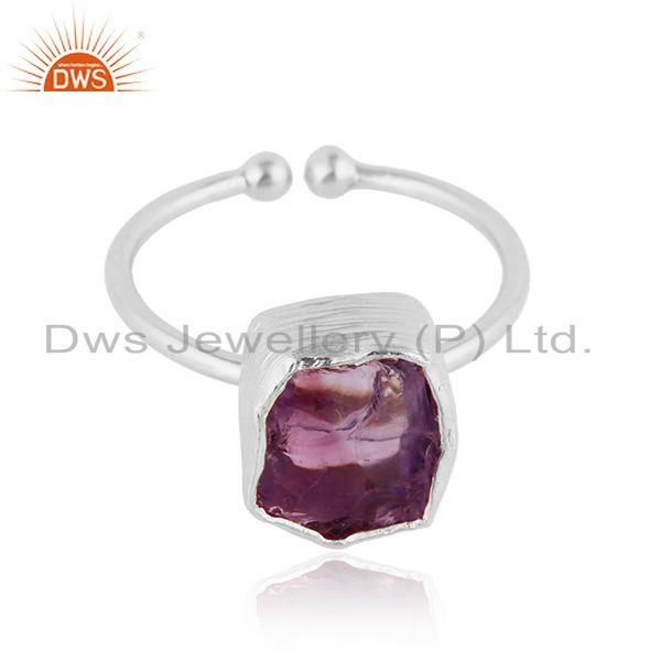 New Designer Fine Silver Rough Amethyst Gemstone Adjustable Ring