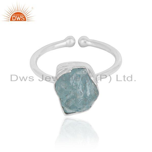 Aquamarine Gemstone Handmade Girls 925 Sterling Silver Rings