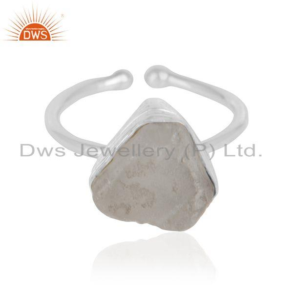 Crystal quartz gemstone womens sterling fine silver girls rings