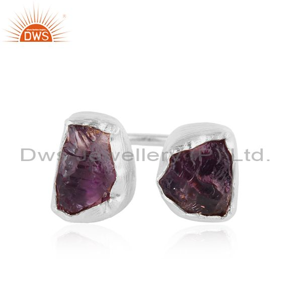 Natural Rough Amethyst Gemstone Fine Silver Stud Earrings Jewelry