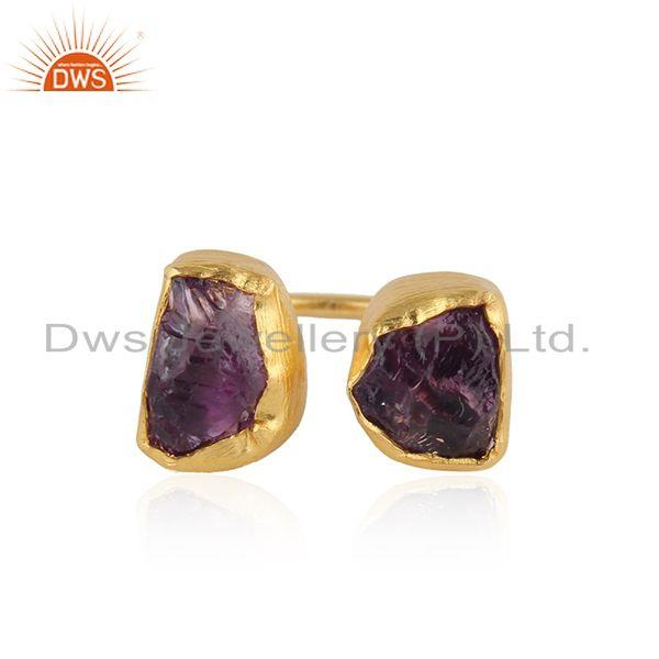 Nugget Design Gold Plated 925 Silver Amethyst Gemstone Rings
