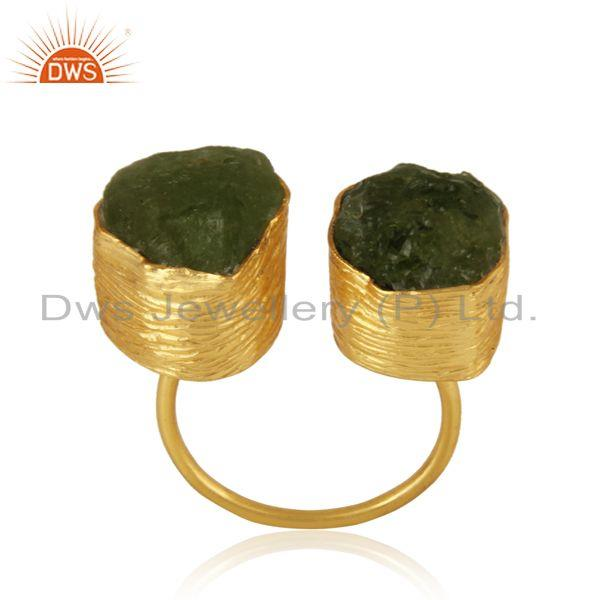 Handcrafted textured gold on silver ring with organic shape peridot