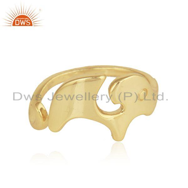 Gold Plated 92.5 Silver Enchanting Elephant Design Ring Jewelry