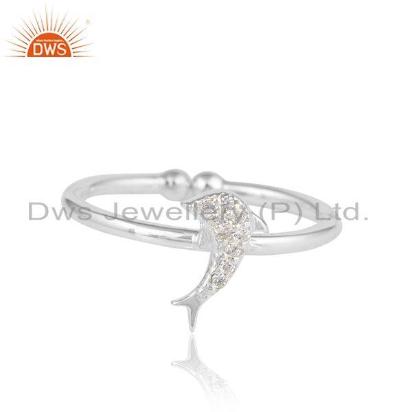 Dolfin fish design white zircon 925 sterling fine silver rings
