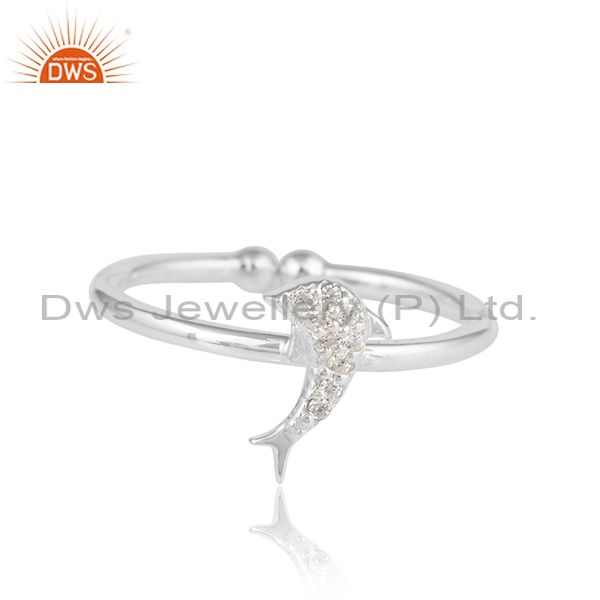 Dolphin Fish Design White Zircon 925 Sterling Fine Silver Rings