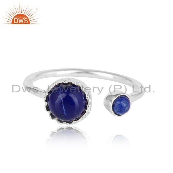 Natural Lapis Lazuli Gemstone Designer Sterling Fine Silver Rings