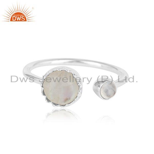 Rainbow Moonstone Design 925 Sterling Fine Silver Womens Rings