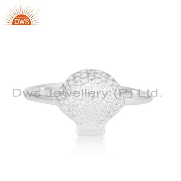 925 Plain Silver Shell Design Sterling Fine Silver Ring Jewelry
