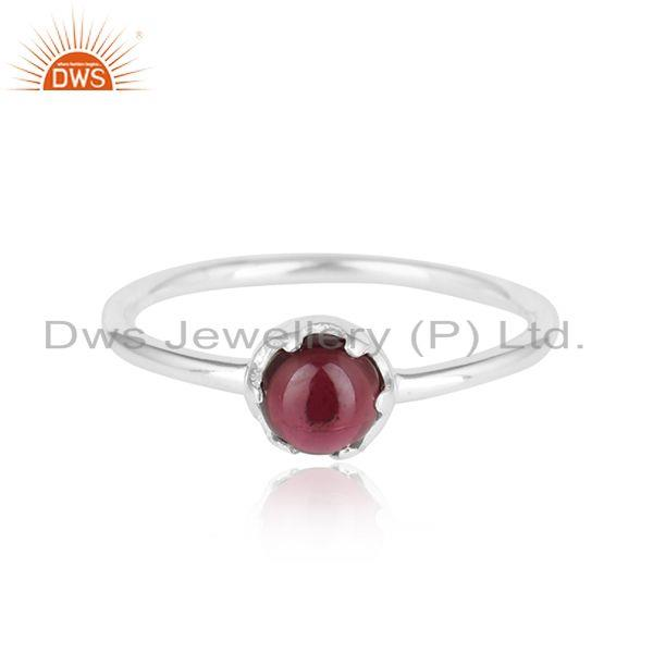 Natural Garnet Gemstone Prong Set Sterling Fine Silver Ring Jewelry