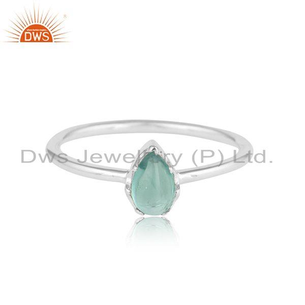 Pear shape sterling fine silver aqua chalcedony gemstone rings