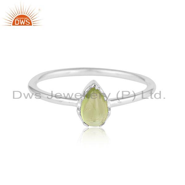 Natural peridot gemstone womens sterling fine silver ring jewelry