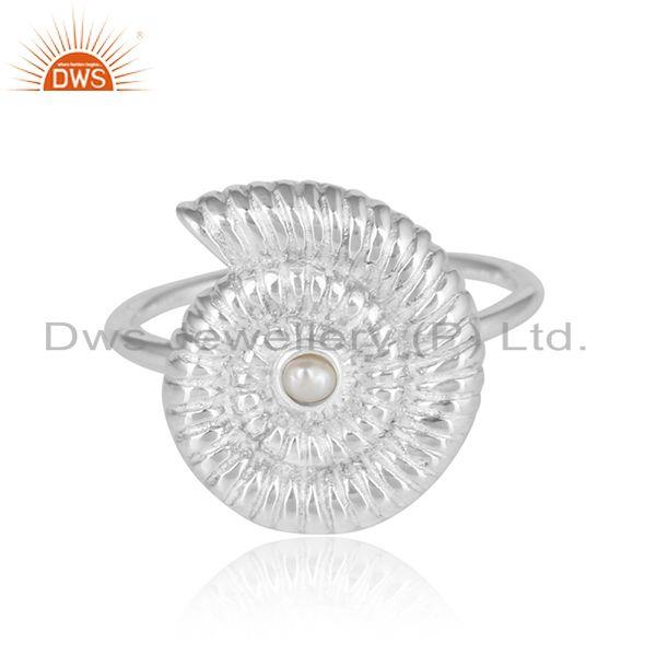 Natural Pearl Gemstone Spiral Shell Design Fine Silver Rings