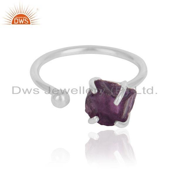 Rough amethyst gemstone handmade 925 sterling silver ring jewelry