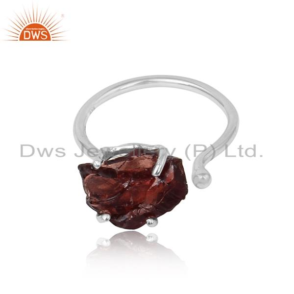 Handcrafted designer garnet rough gemstone ring in silver 925