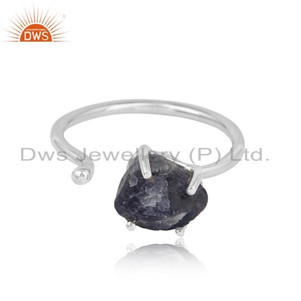 Handcrafted designer rough iolite gemstone ring in silver 925