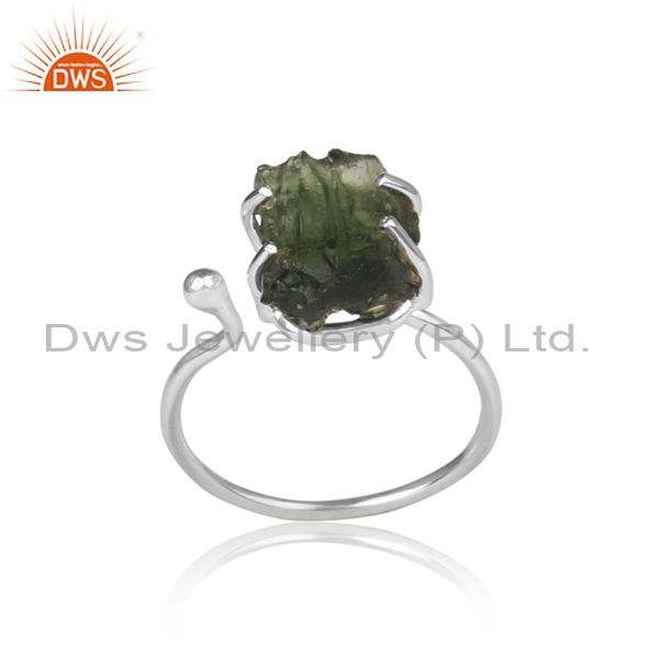 Rough Cut Moldavite Set Fine Sterling Silver Classic Ring