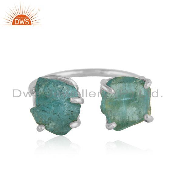 Natural Apatite Gemstone Designer Sterling Fine Silver Rings
