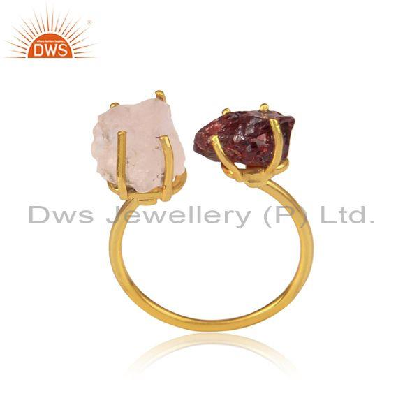 Garnet And Rose Quartz Set Gold On 925 Silver Classic Ring