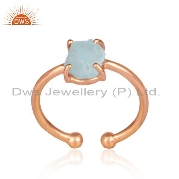 Rough Cut Apatite Set Rose Gold On 925 Silver Statement Ring
