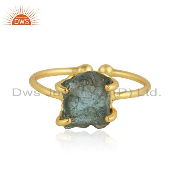 Natural Neon Apatite Gemstone Gold Plated Silver Adjustable Rings