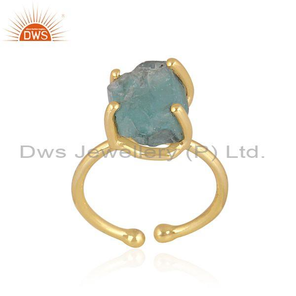 Rough cut neon apatite set gold on 925 sterling silver ring
