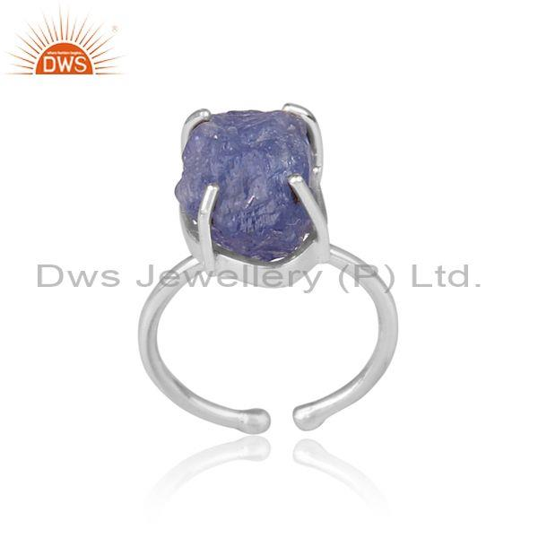 Rough Cut Tanzanite Set Fine Sterling Silver Classic Ring
