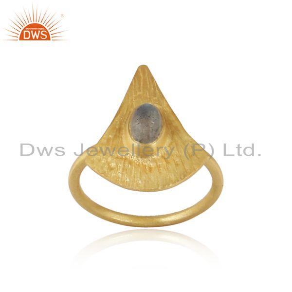 Texture yellow gold plated silver labradorite gemstone rings