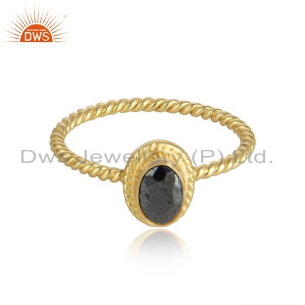 Hematite Gemstone Womens 18k Gold Plated Twisted Silver Rings