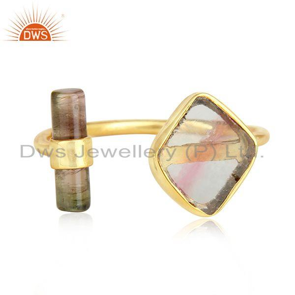 Bio Tourmaline Gemstone 18k Gold Plated Silver Womens Rings