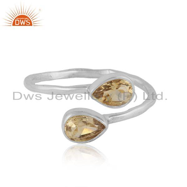 Handmade Sterling Silver Natural Citrine Gemstone Ring Jewelry