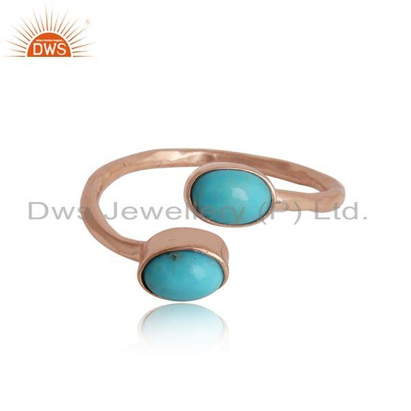 Dainty designer bypass turquoise ring in rose gold on silver 925