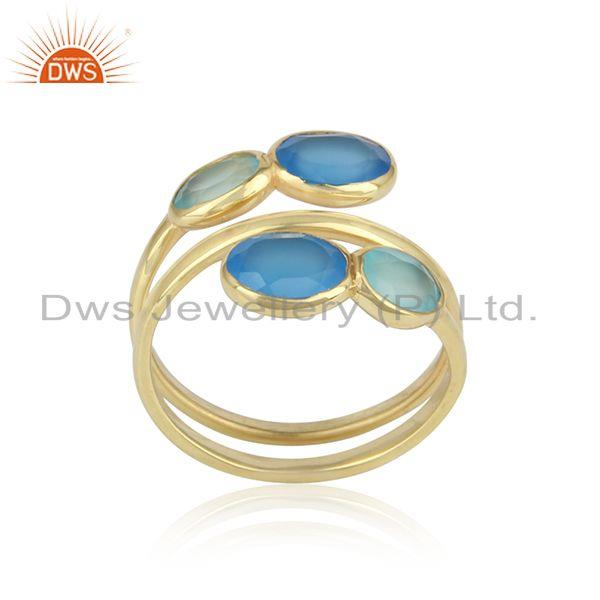 Handmade Yellow Gold on Silver 925 Ring with Aqua, Blue Chalcedony