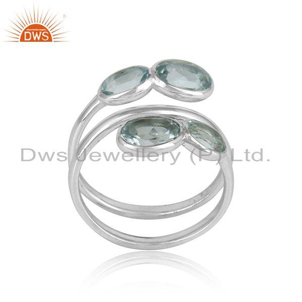 925 Sterling Fine Silver Natural Blue Topaz Gemstone Rings Jewelry