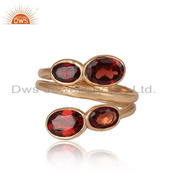 Natural Garnet Gemstone Handmade Rose Gold Plated Silver Rings