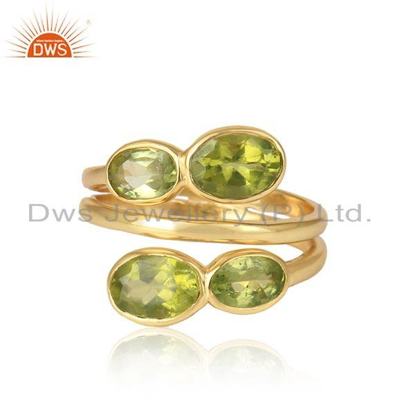 Natural peridot gemstone handmade yellow gold plated silver rings
