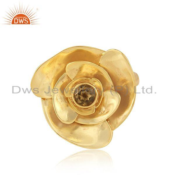 Citrine gemstone 18k gold plated 925 silver rose flower rings