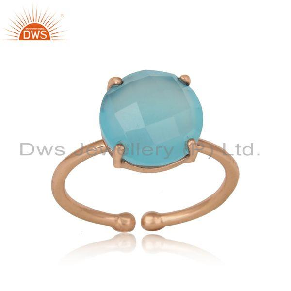 Handcrafted solitaire aqua chalcedony ring in rose gold on silver