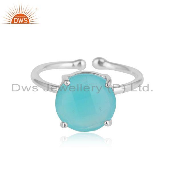 Prong Set 925 Silver Aqua Chalcedony Gemstone Adjustable Rings