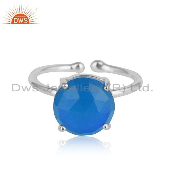 Blue chalcedony gemstone prong set 925 sterling silver womens rings