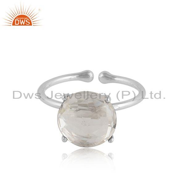 Crystal quartz gemstone prong set sterling silver ring jewelry