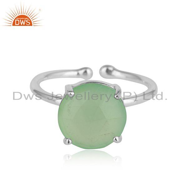 Prehnite chalcedony gemstone prong set 925 sterling silver rings