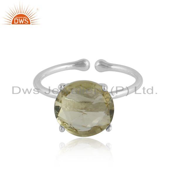 Lemon Topaz Gemstone Prong Set Sterling Silver Handmade Rings