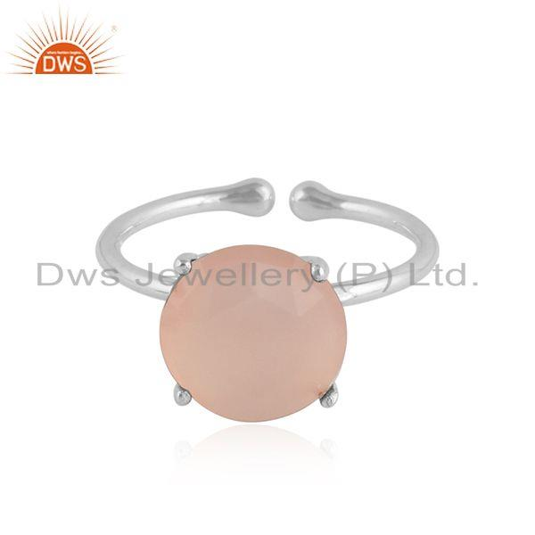 Prong set rose chalcedony gemstone sterling silver ring jewelry