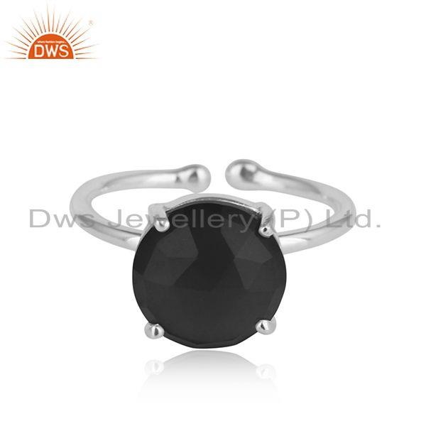 Prong set black onyx gemstone 925 sterling fine silver ring jewelry