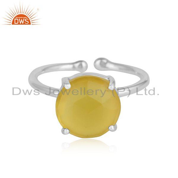 Yellow Chalcedony Gemstone Prong Set 925 Silver Designer Rings