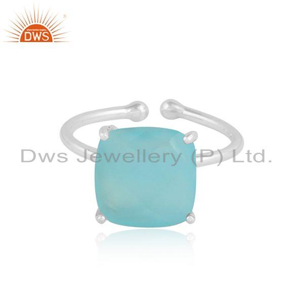 Natural aqua chalcedony gemstone handmade sterling silver rings