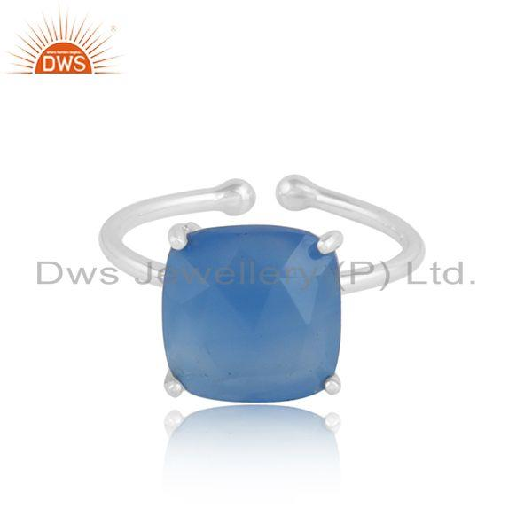 Blue chalcedony gemstone womens 925 sterling silver ring jewelry