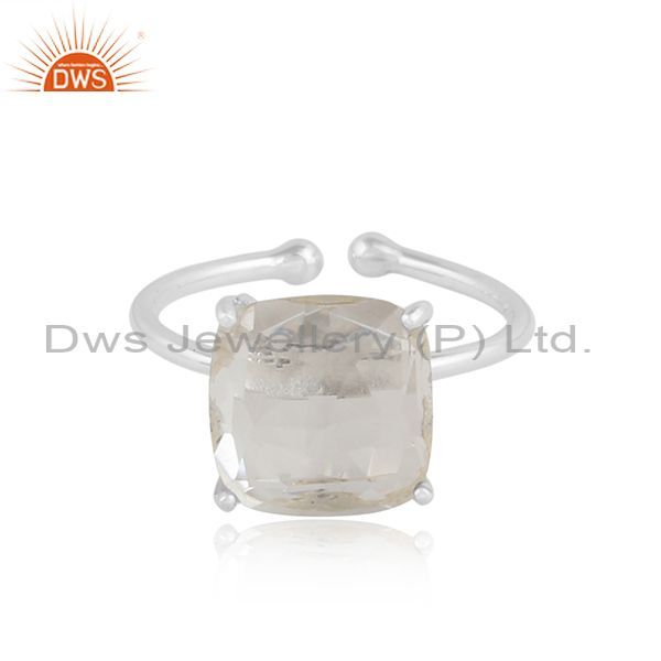 Crystal quartz gemstone handmade sterling silver designer rings