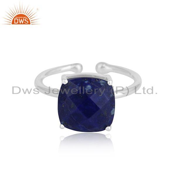 Lapis lauli gemstone prong set 925 silver ring jewelry for girls