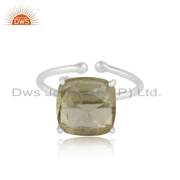 Lemon topaz gemstone designer 925 sterling fine silver rings